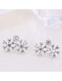 Sweet Silver Color Flower Shape Design Hollow Out Somple Earrings