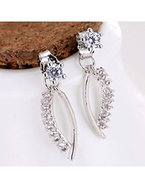 Sweet Silver Color Round Shape Diamond Decorated Irregular Shape Earrings
