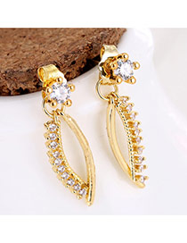 Sweet Gold Color Round Shape Diamond Decorated Irregular Shape Earrings