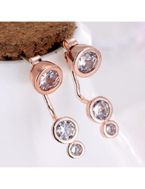Sweet Rose Gold Round Shape Diamond Decorated Irregular Shape Earrings
