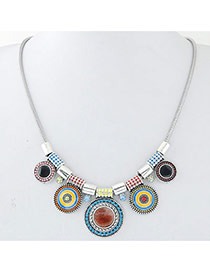 Vintage Multi-color Round Shape Decorated Short Chain Simple Necklace