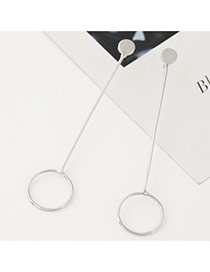 Fashion Silver Color Pure Color Decorated Round Shape Design Long Earrings