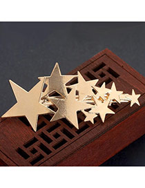 Fashion Gold Color Metal Star Shape Pure Color Design Simple Earrings