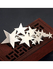 Fashion Silver Color Metal Star Shape Pure Color Design Simple Earrings