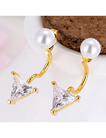 Personality Gold Color Triangle Shape Diamond Decorated Simple Earrings