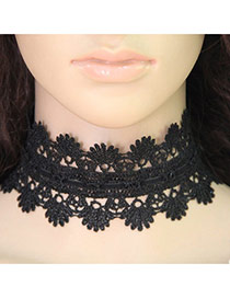 Vintage Black Pure Color Decorated Hollow Out Design Choker