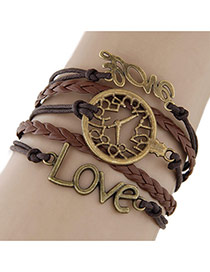 Vintage Coffee Hollow Out Watch&letter Love Decorated Multilayer Bracelet