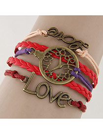 Vintage Red Hollow Out Watch&letter Love Decorated Multilayer Bracelet