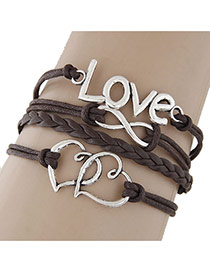 Vintage Dark Coffee Double Heart Shape&letter Lover Decorated Multilayer Bracelet