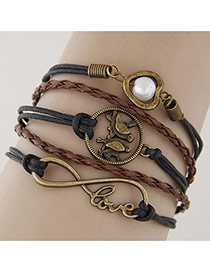 Vintage Coffee+black Double Birds&heart Shape Decorated Multilayer Bracelet