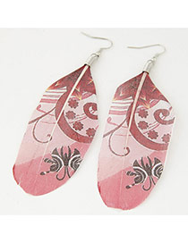 Trendy Pink Butterfly Shape Pattern Decorated Feather Shape Pendant Earring