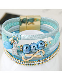 Trendy Sky Blue Metal Buckle Shape Decorated Pure Color Bracelet