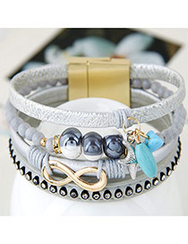 Trendy Gray Multielement Pendant Decorated Multilayer Bracelet