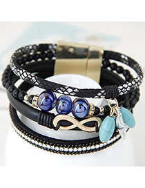 Trendy Black Multielement Pendant Decorated Multilayer Bracelet