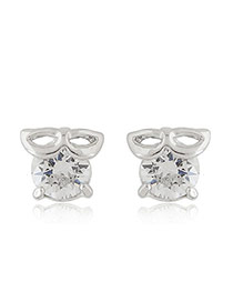 Sweet Silver Color Mask Shape Decorated Round Diamond Earring