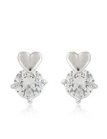 Sweet Silver Color Heart Shape Decorated Round Diamond Earring
