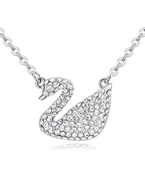 Luxury White Swan Shape Pendant Decorated Pure Color Necklace