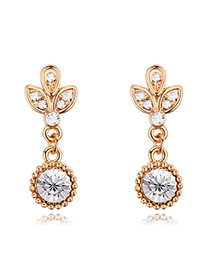 Luxury Champaign Gold+white Leaf Shape&diamond Decorated Tassel Earring