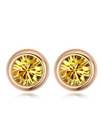 Luxury Champaign Gold Diamond Decorated Simple Round Shape Earring