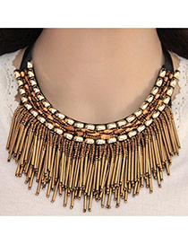 Elegant Antique Gold Multilayer Square Gemstone Decorated Tassel Pendant Chocker