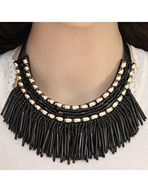 Elegant Black Multilayer Square Gemstone Decorated Tassel Pendant Chocker