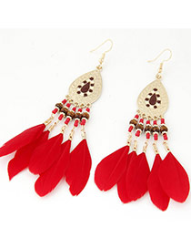 Elegant Red Feather Tassel Pendant Decorated Waterdrop Earring