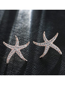 Sweet Rose Gold Diamond Decorated Starfish Shape Earring