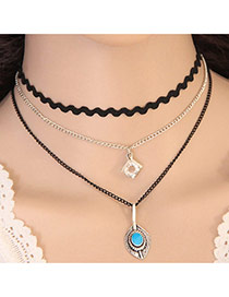 Elegant Blue Geometric Shape Pendant Decorated Multilayer Chocker