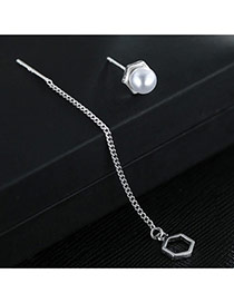 Sweet Silver Color+white Pearl&round Shape Pendant Decorated Asymmetric Simple Earrings