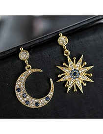 Sweet Gold Color+dark Blue Moon&sun Shape Pendant Decorated Color Matching Earrings