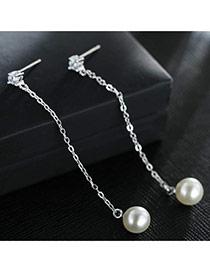 Sweet Silver Color+white Pealrs&diamond Decorated Tassel Design Earrings