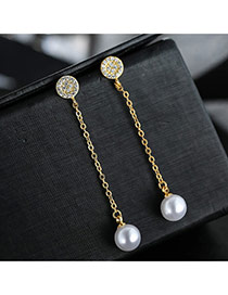 Sweet Gold Color+white Pearls&round Shape Decorated Tassel Design Earrings