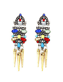 Elegant Gold Color Rivet Pendant Decorated Tassel Design Simple Earrings