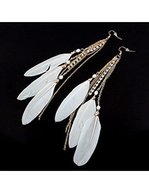 Fashion White Long Tassel&feather Pendant Decorated Simple Earrings