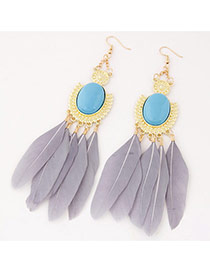 Fashion Gray Feather Pendant Decorated Simple Earrings