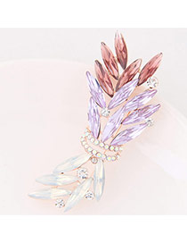 Fashion Multi-color Oval Shape Diamond Decorated Hollow Out Color Matching Brooch