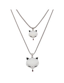 Fashion Silver Color Fox Shape Pendant Decorated Double Layer Necklace