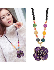 Fashion Purple Rose Shape Pandant Decorated Simple Long Chain Sweater Necklace
