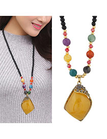 Fashion Multi-color Irregularity Shape Pandent Decorated Simple Sweater Necklace