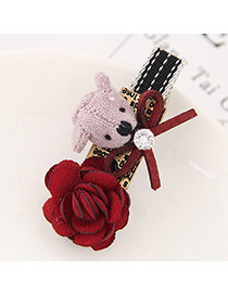 Lovely Red Little Bear&flower Shape Decorated Simple Hairpin