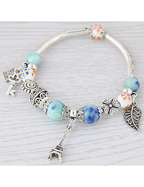 Sweet Light Blue Eiffel Tower&hollow Out Leaf Pendant Decorated Simple Bracelet