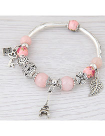Sweet Pink Eiffel Tower&hollow Out Leaf Pendant Decorated Simple Bracelet