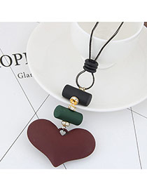 Sweet Coffee Heart Shape Pendant Decorated Simple Necklace