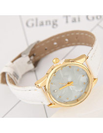 Elegant White Diamond Decorated Pure Color Strap Design Lady Watch