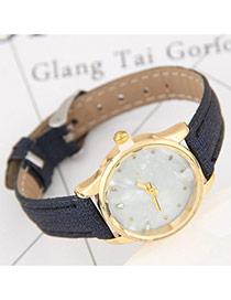 Elegant Dark Blue Diamond Decorated Pure Color Strap Design Lady Watch