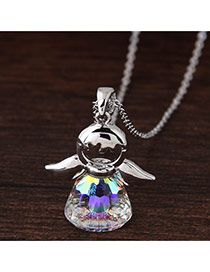 Sweet Multi-color Angel Doll Pendant Decorated Color Matching Simple Necklace
