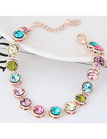 Fashion Multi-color Round Shape Diamond Decorated Color Matching Bracelet