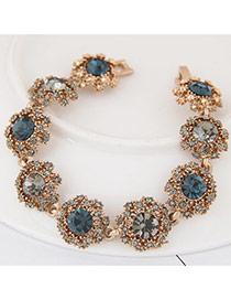 Fashion Dark Blue+white Round Shape Diamond Decorated Flower Shape Design Bracelet