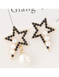 Exaggerated White+black Pearls&diamond Decorated Hollow Out Star Design Asymmetric Earrings