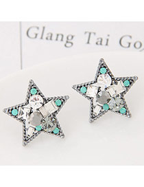Sweet Silver Color Diamond Decorated Star Shape Earring